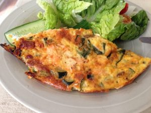 Zucchini, chorizo & Salmon frittata with salad